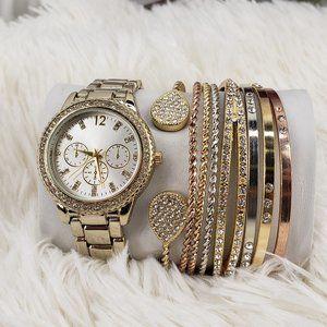 Gold-tone Watch with Bangle Bracelet Set NIB